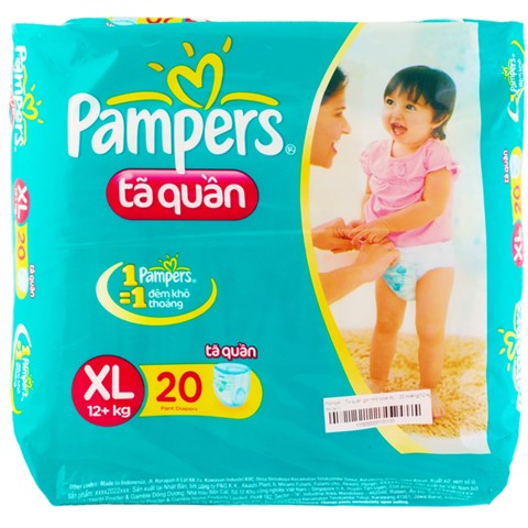 Bim quan Pampers XL20 danh cho be tu 12kg tro len
