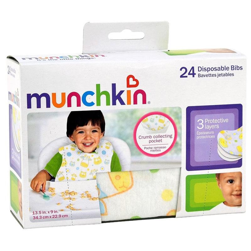 Yem dung 1 lan Munchkin 41501 Disposable Bibs gom 24 chiec