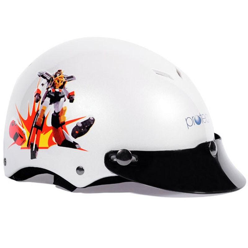 Mũ bảo hiểm Protec Kitty màu trắng in Robot size M