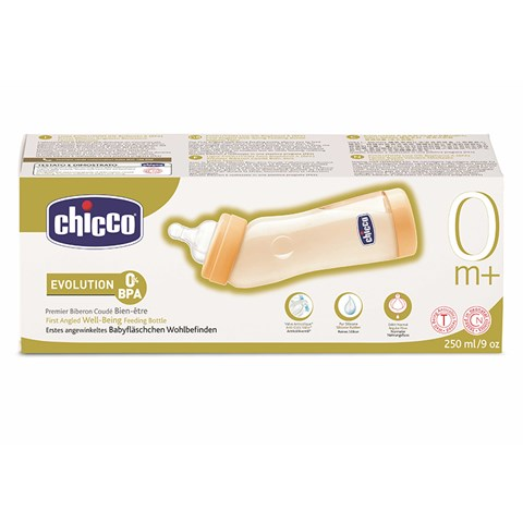 Binh sua Chicco co nghieng chong day hoi nhua PES, num ty silicon