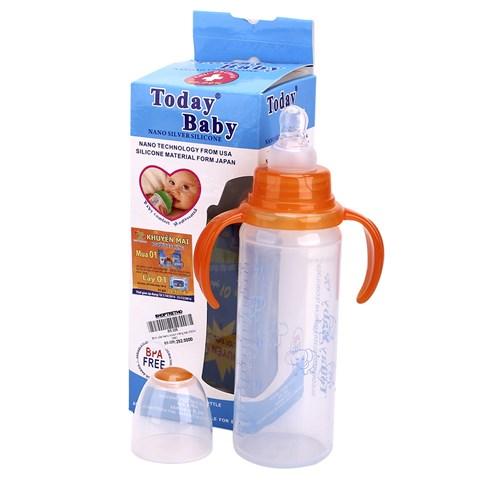 Binh sua Today Baby silicone trang bac 240ml (det)