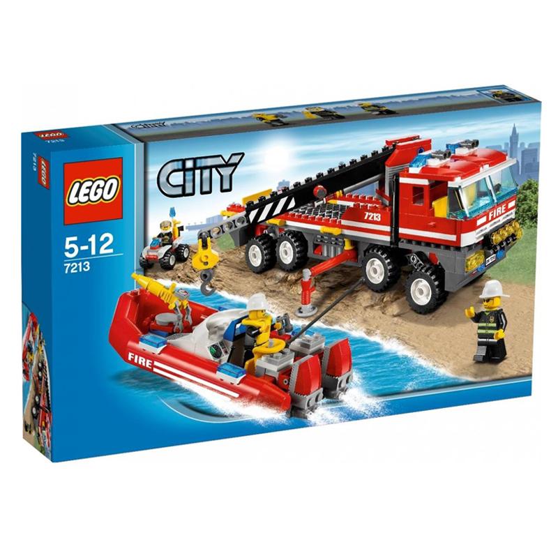 LEGO 7213 City - Xep hinh xe tai dia hinh va Cano cuu hoa