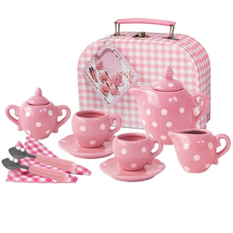 Bộ tách trà sứ hồng chấm bi 13 món Just For Chip dành cho bé gái