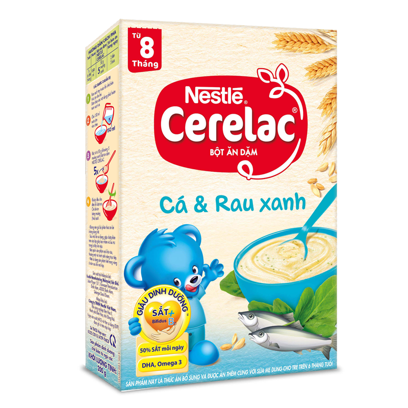 Bot dinh duong Nestle Cerelac ca va rau xanh (200gr)