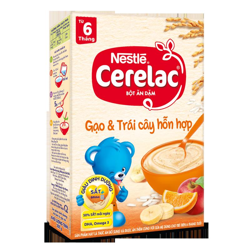Bot dinh duong Nestle Cerelac gao va trai cay hon hop (200gr)